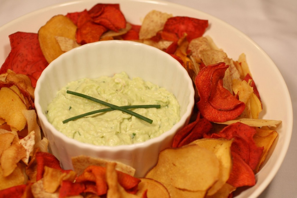 Avocado Chèvre Dip with Root Chips