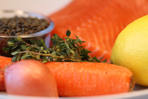 Salmon and Lentil Ingredients