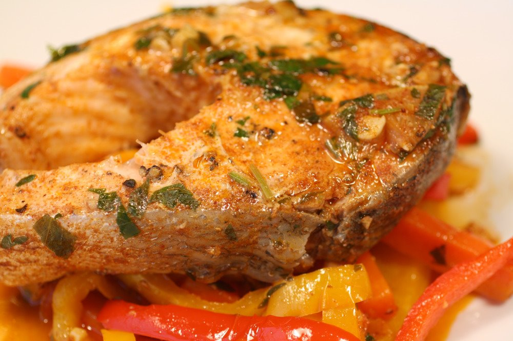 Stoplight Piperade With Spicy Broiled Salmon Recipes — Dishmaps