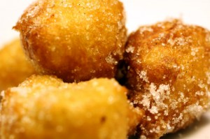 Apple and Pear Beignets with Vanilla Sugar