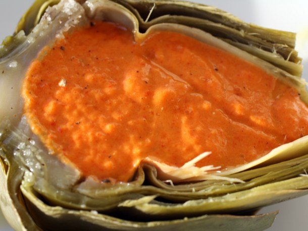 Red Pepper Caviar in a Chilled Artichoke