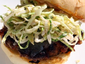 Chorizo Burger with Manchego and Paprika Slaw