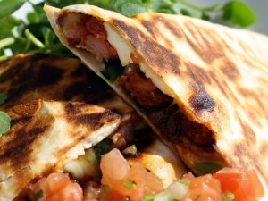 Chorizo Quesadillas with Watercress