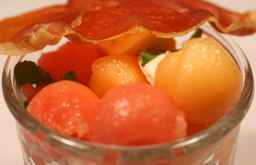 Melon, Mozzarella, and Rose Salad