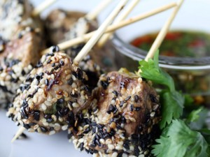 Sesame Tenderloin Skewers