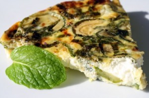 Zucchini Mint Goat Cheese Omelet