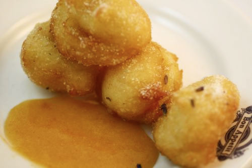 Beignets with Lavender Sugar and Apricot Sauce