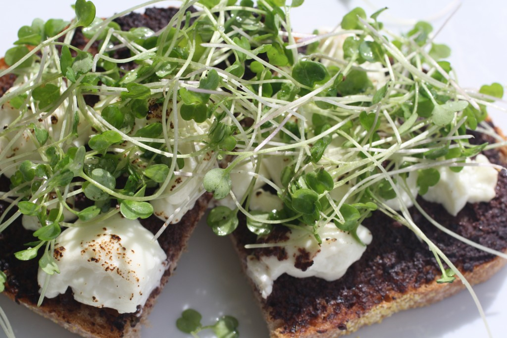 Tapenade and Goat Cheese Tartine