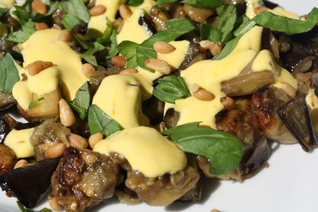 Roasted Eggplant Salad with Saffron Yogurt