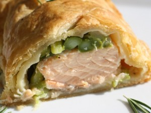 Salmon en Croûte with Rosemary Asparagus