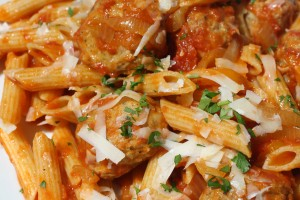 Spicy Penne with Meatballs