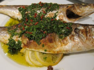 Charred Fish with Spicy Fresh Herb Sauce