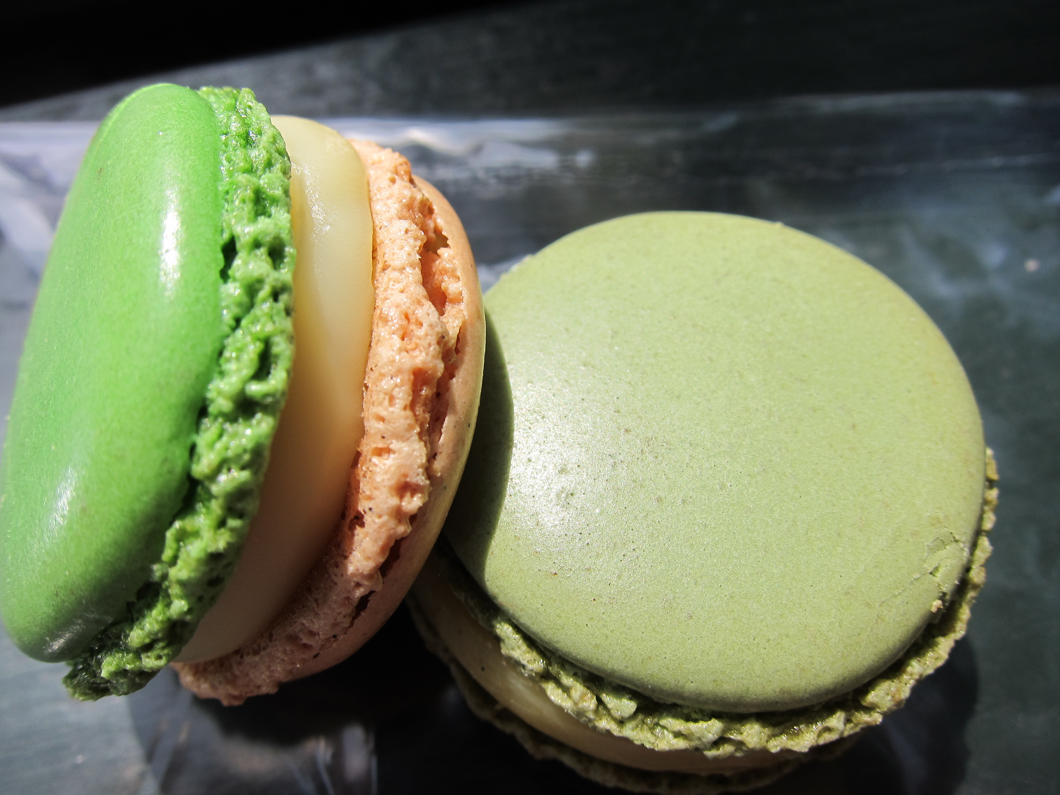 Olive Oil-Vanilla and Green Asparagus-Hazelnut Macarons
