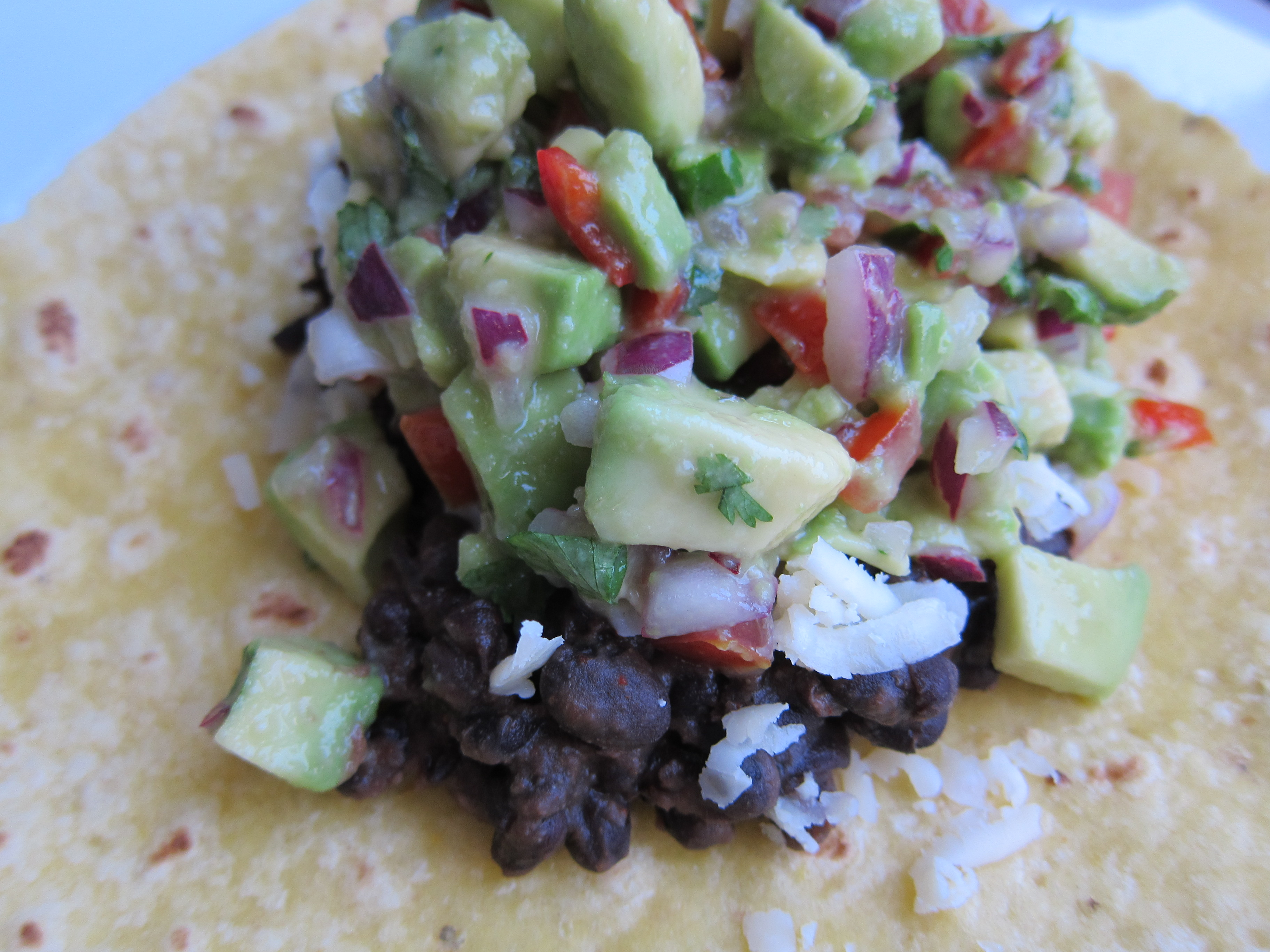 Eva's Chunky Guacamole on my Black Bean Taco