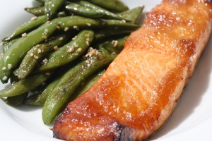 Spicy-Sweet Ginger Salmon with Sugarsnaps