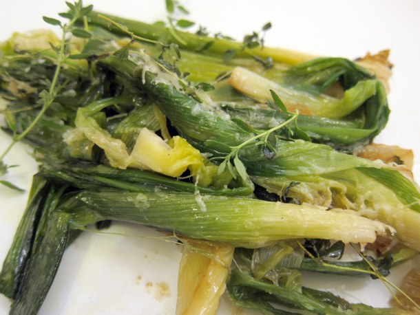 Baby Leeks with Parmesan and Thyme