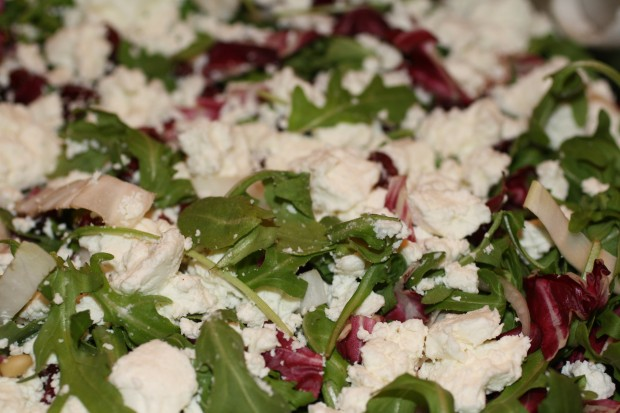 Bitter Greens Salad with Cranberries and Goat Cheese