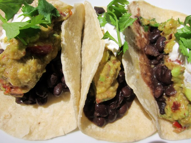... Dinner! Mind-Blowing Smoky Guacamole and Spiced Black Bean Soft Tacos