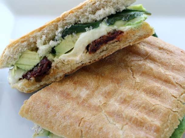 Brie, Avocado, Mozzarella, Sun Dried Tomato, and Basil Panini