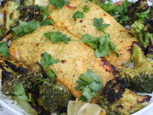Tandoori Salmon with Broccoli