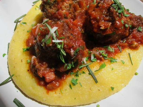 Turkey and Porcini Meatballs on Polenta
