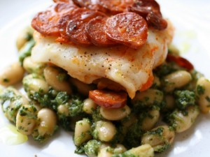 Cod with Chorizo and Beans with Arugula Pesto