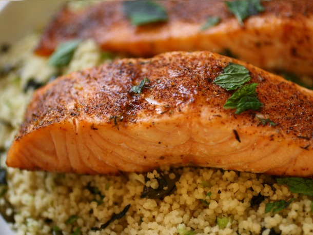 Blackened Salmon with Coconut Couscous