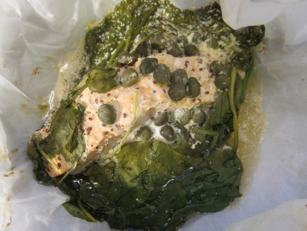 Mustard Salmon with Spinach and Capers en Papillote