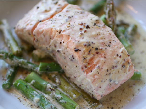 Mustard Salmon en Papillote with Asparagus