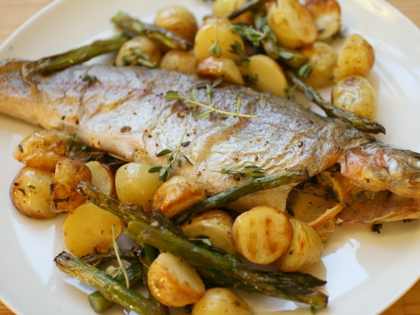 Roast Trout with Potatoes and Asparagus Out of the Oven