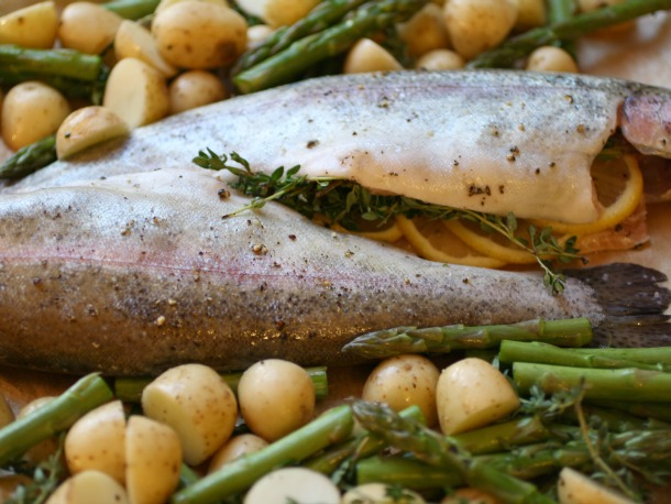 Whole Roast Trout with Potatoes and Asparagus
