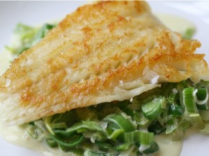 Crispy Cod Cooked 'Unilateral' with Creamed Leeks