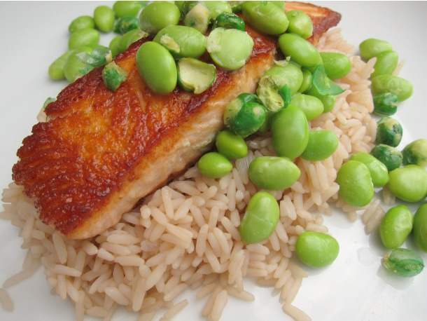 Crispy Salmon with Jasmine Tea Rice and Wasabi Edamame | French ...