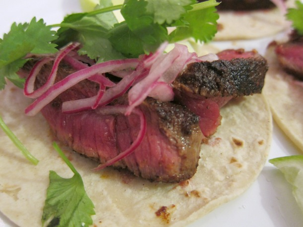 Filet and Pickled Onion Tacos