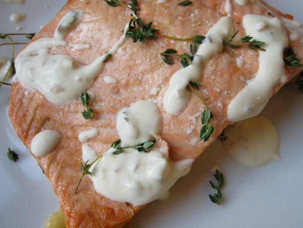 Salmon with Thyme and Three-Lemon Crème Fraîche