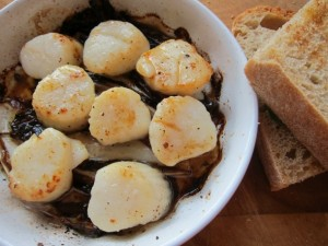 Scallops Baked with Butter and Endives