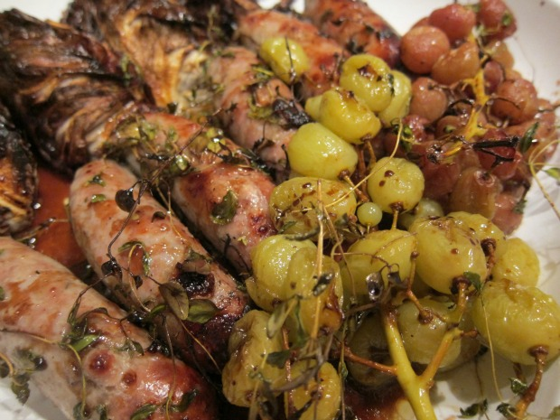 Sausages Baked with Grapes