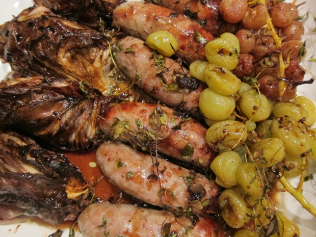 Sausages with Radicchio and Grapes Overhead