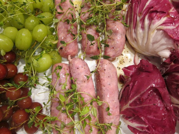 Sausages with Radicchio and Grapes Raw
