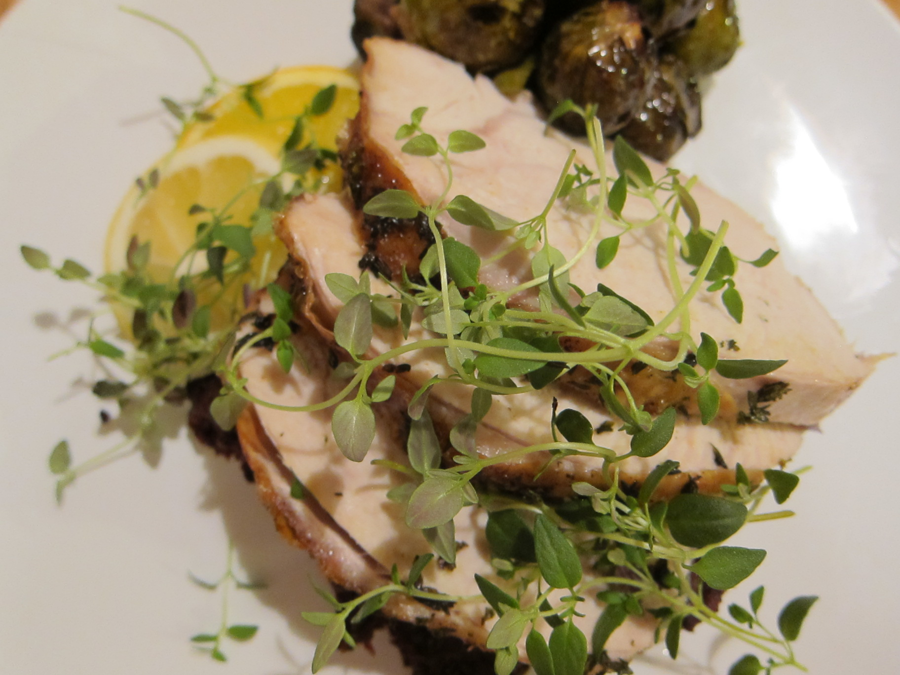 ... Turkey with Smashed Carrots and Roasted Brussels Sprouts and Chestnuts