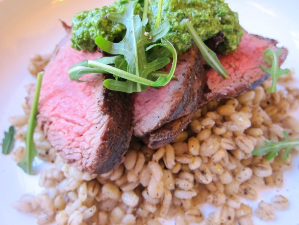 Barley Cacio e Pepe with Charred Steak and Dark Greens Pesto