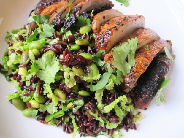 Miso Charred Mushroom and Black Rice Salad
