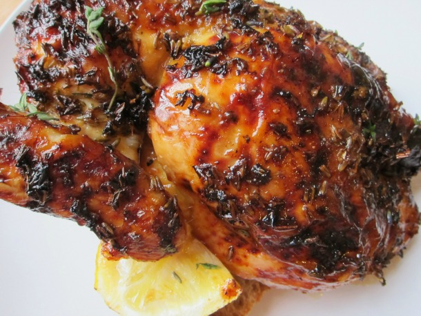 Lavender Lemon Spatchcocked Roast Chicken Half