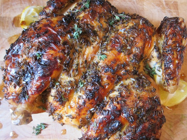 Spatchcocked Lavender Lemon Honey Roast Chicken