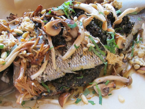 Bream with Mushroom Pesto