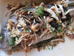 Whole Roasted Bream with Mushroom Pesto