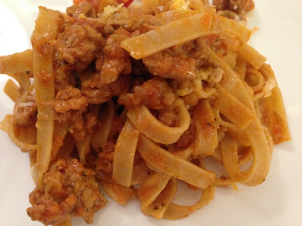 Whole Wheat Tagliatelle with Turkey Bolognese