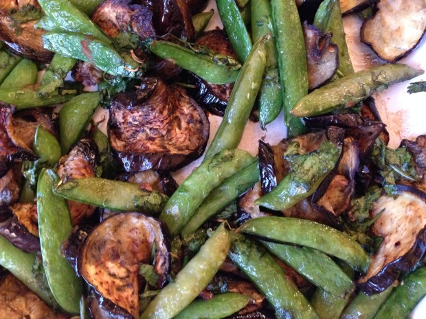Ginger Soy Eggplant and Sugar Snaps