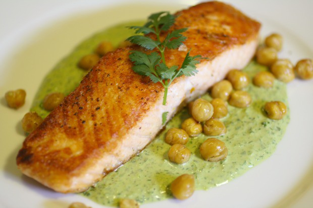 Crispiest Salmon with Green Tahini and Crunchy Chickpeas