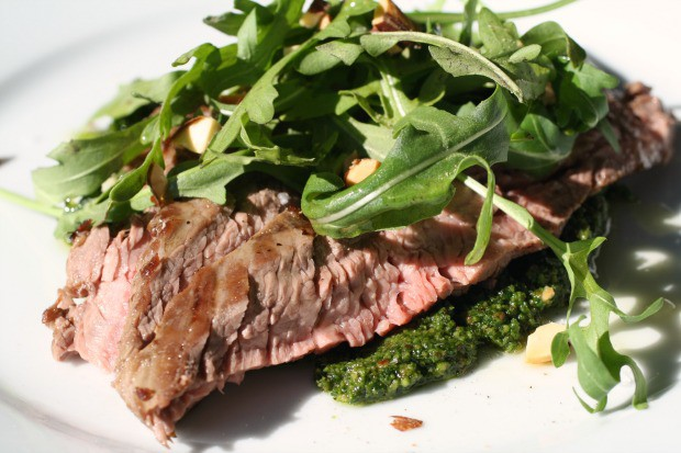 Steak with Smoked Almond Pesto